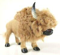 Buffalo Bison Figurine Real Fur Wild Animal Replica Realistic