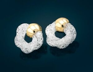 Netzoptik Ohrringe mit Glitzerkristallen in weiss Trendschmuck Modeschmuck