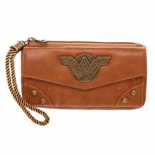 DC Comics Wonder Woman Movie Logo Zip Top Brown Wallet Clutch Purse