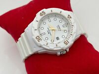 Casio Quartz Wristwatch White Rubber Band Sport Date Calendar Women Watch WR 100