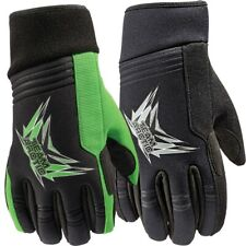 Arctic Cat Race Grip Gloves Clarino Palm Fingers Thumb Tricot Lining Green Black
