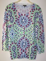 Talbots Colorful Spring Like Cardigan Sweater Women's L Button Front 3/4 Sleeves