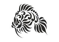 Tribal Lion Fish stencil, 350 micron Mylar not thin stuff  #TaT0052