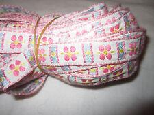 Vintage Jacquard Embroidery Cotton Trim Circle White Pink Blue Sew Craft Ribbon