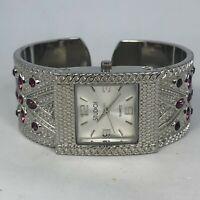 Studio Time STD2728 Womens Silver Bangle Metal Bezel Quartz Analog Watch
