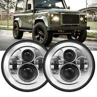 "Pair For Land Rover Defender LED Headlights RHD 7"" 90 110 Chrome Hi/Lo Beam E9"