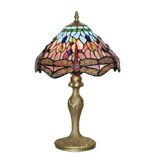 Searchlight 1287 Dragonfly Antique Brass Table Lamp Tiffany Style Glass