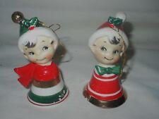 2 Rare Vtg LEFTON  Pixie Boy Bell Christmas Ornaments/Figurines-Japan-*CUTE*