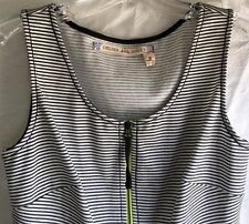 Chelsea & Violt Women's Sleeveless Striped Front Full Zip Top Black/White Size S