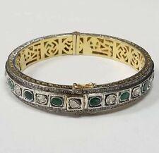Vintage Gold Tone Sterling Silver Polki Diamond & Emerald Bangle Bracelet VSB