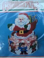 1991 Bucilla Christmas Santa & Elves Plastic Canvas Candy Dish Kit