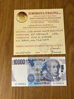 REPUBBLICA BANCONOTA LIRE 10000 VOLTA 1994 SERIE X SOSTITUTIVA RARA FDS