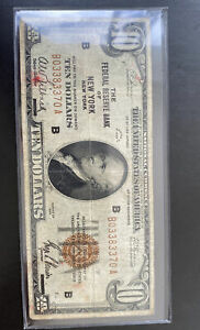 1929 $10 Federal Reserve Bank Note New York FRBN B