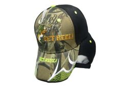 Get Reel! Bass Fishing Camouflage Camo Black Back Embroidered Cap CAP927E Hat