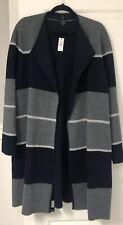 Nwt Talbots 2X 20W Navy And Gray Long Cardigan Merino Wool Topper Sweater