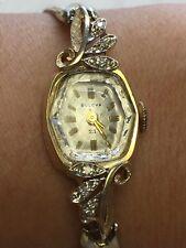 vintage 14KT gold & Diamond Bulova ladies watch