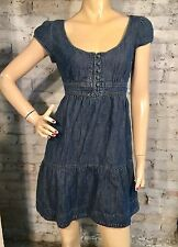 JUICY COUTURE DRESS 6 (S) EMPIRE DENIM BLUE JEAN RUFFLE FLOUNCE CAP SLEEVE TIE