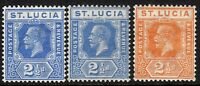 St Lucia 1921 part set  multi-script mint SG96/97/98 (3)