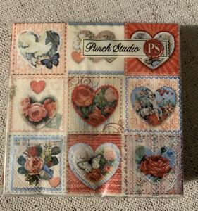Vintage Valentines Punch Studio Beverage Napkins Crafting Mod Podge Set Of 20
