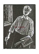 Graphik Original-Holzschnitt Conrad Felixmüller: Selbstbildnis (malend) 1967/70