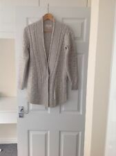 LADIES 'NEXT' GREY CABLE CARDIGAN. SIZE 8 PETITE. GOOD CONDITION.