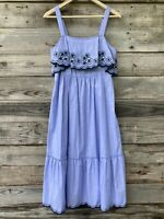 Kate Spade Broome Street Daisy Embroidered Patio Midi Dress Medium Blue NWT $149