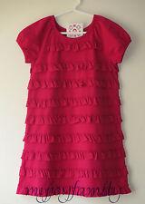 HANNA ANDERSSON Modern Stretch Ruffle Love Dress Cerise Pink 100 4T 4 NWT