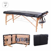 """4"""" Pad 91"""" Black Portable Massage Table w/Free Carry Case Chair Bed Spa Facial"""