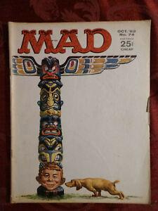 RARE MAD magazine October 1962 Totem Pole Dr. Kiljoy Eating out