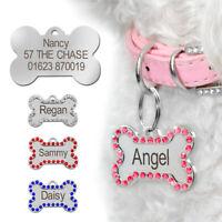 Rhinestones Bone Personalised Dog Tags Disc Disk Pet Name ID Tags Engraved Free