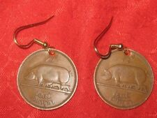 ANTIQUE VINTAGE RUSTIC IRISH IRELAND PIG/HARP BARBEQUE FESTIVAL COIN EARRINGS