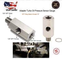 "1/8"" NPT Oil Pressure Sensor Tee NPT Adapter Turbo Supply Feed Line Gauge M10"