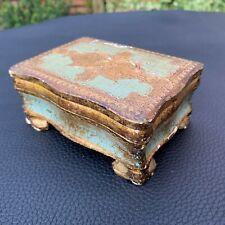 Mid Century Hand Made Italian Gold Gilt Florentine Toleware Jewelry Trinket Box