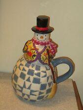 "Rare Jim Shore ""Winter Folk"" Snowman Mug Figurine Certified International 8""h"
