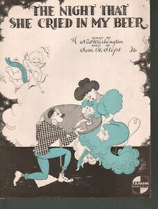 Night That She Cried in my Beer 1934 Sheet Music