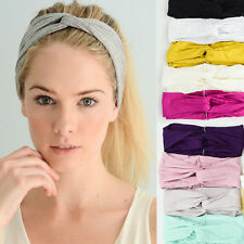 Women Solid Color Twist Cable Head Band Wrap Stretch Wide Headband One size