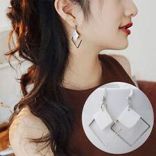 HK- Fashion Alloy Square White Shell Dangle Hook Earrings Women Jewelry Showy