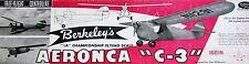 "Vintage AERONCA C-3 36"" Berkeley FF / RC PLAN + Model Airplane Parts Patterns"