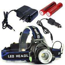 3000LM Zoom CREE XM-L T6 HeadLamp Rechargeable +18650 Battery+ AC/Car Charger UR