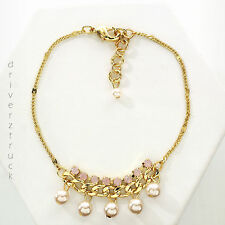Lauren Conrad Simulated Pearls Faux Crystals Pink Bracelet Gold Tone Chain