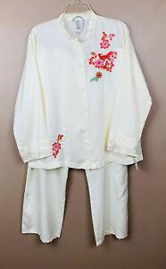 NATORI Women's 2pc Pajama Lounge Set Cruz Asian Embroidered LARGE NEW