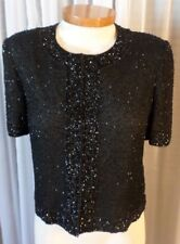 Vintage Lady S Silk Blouse Top Woman M Black Bead Sequin Small Elegant Stenay