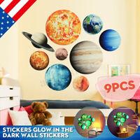 US Glow In The Dark Solar System 9# Planets Wall Decal Sticker Decor Kids Art