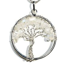 """CHARGED Rainbow Moonstone Tree of Life Perfect Pendant™ REIKI 20"""" Silver Chain"""