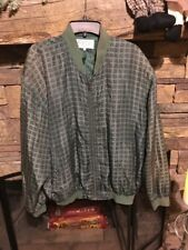WHITBY ~ 100% Washed Silk ~ F3 ~Green/Purple Checkered Zipper lightweight jacket