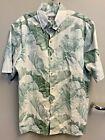 Avanti Men's Hawaiian Shirt Palm Fronds Tropical Light Green Good Overall Cond photo