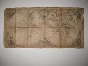 ANTIQUE 1767 EASTERN WESTERN HEMISPHERE WORLD COPPERPLATE MAP UNITED STATES ASIA