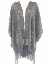 Knit Lace Pattern Open Shawl Sweater Wrap Sweater Poncho Cape One Size Gray
