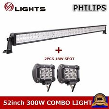 Philips 52inch 300W LED Combo Light Bar Come With 2X 18W Spot Lamp JEEP UTV 4WD