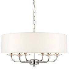 Multi Light Ceiling Pendant –6 Bulb NICKEL & WHITE Chandelier– Large Shade Lamp